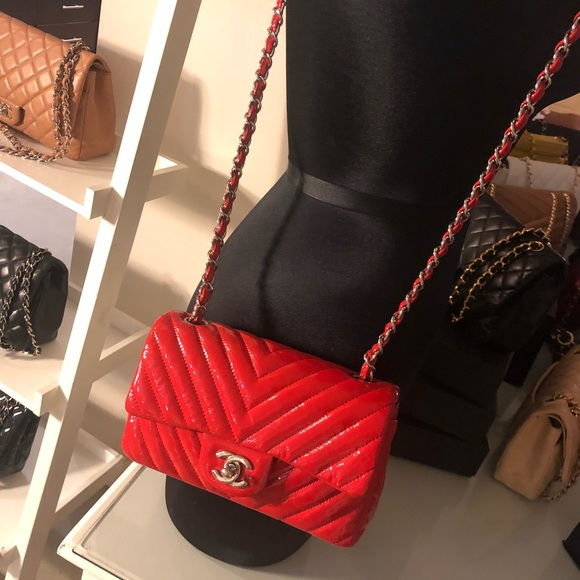 59e7a2f2ec89 CHANEL Bags | Sold Red Chevron Patent Mini Rectangle Flap | Poshmark